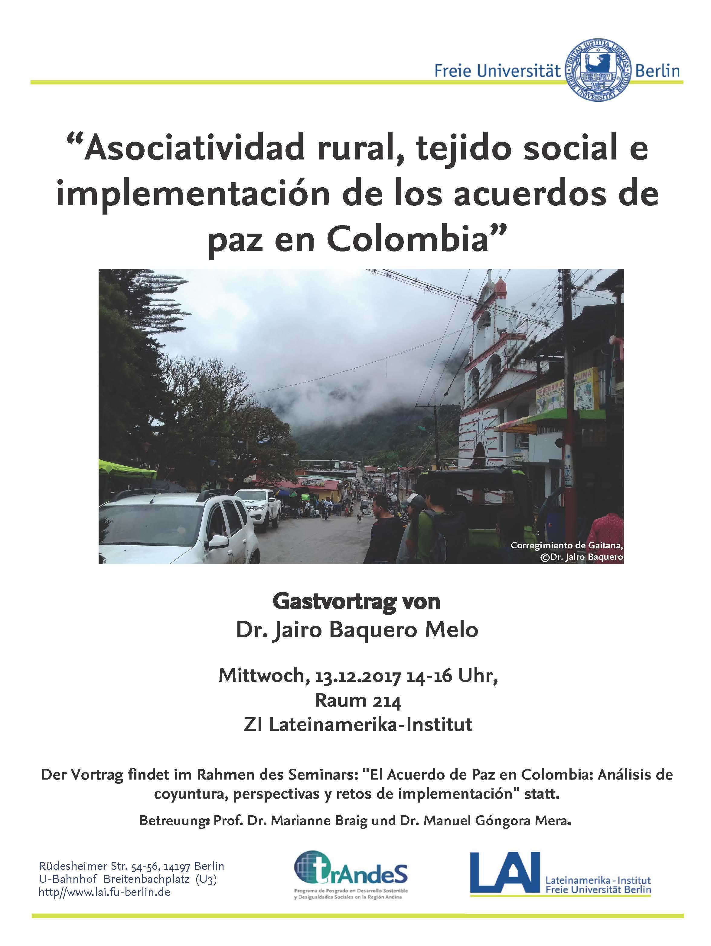 Poster Gastvortrag Dr. Jairo Baquero
