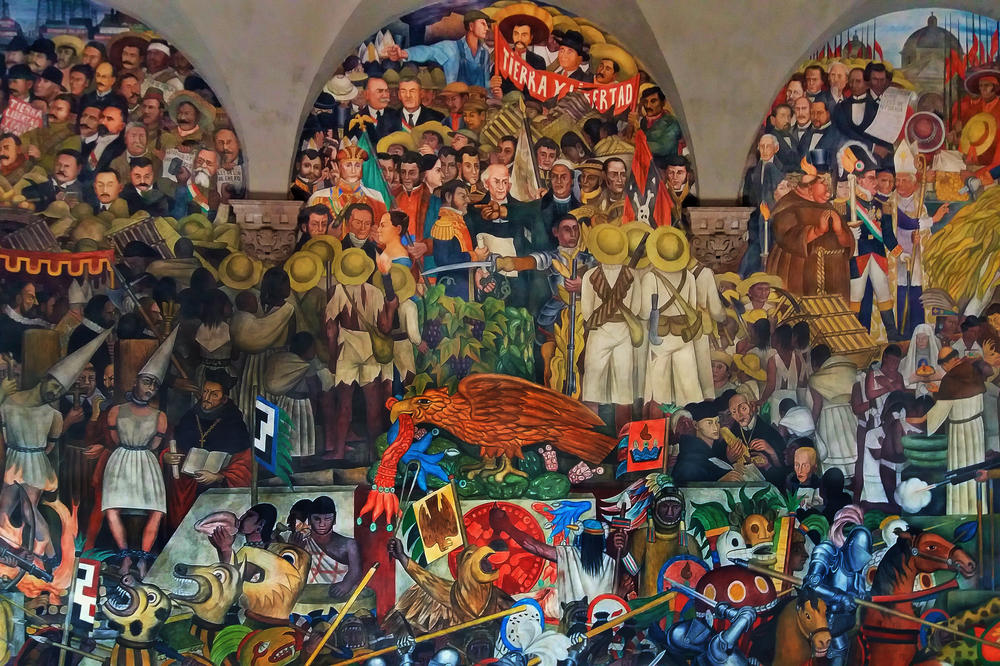 The history of Mexico from the perspective of the muralist Diego Rivera (Palacio Nacional, Mexico, 1929)